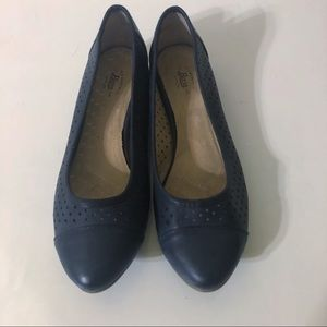 Bass Ballet Flats Navy Blue Perforated Macie 8 M